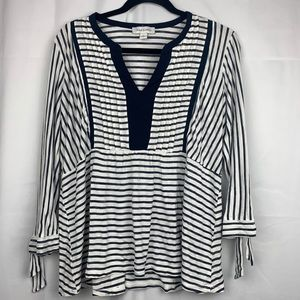 Vintage America  tie 3/4 sleeved striped tunic (L)